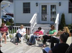discussion outside on a beautiful spring day