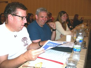 South Windsor Education Association delegates John Hackett (left), Glenn Flanders, and Nancy Peck are among the 172 CEA delegates attending CEA's first caucus meeting in San Diego on July 1. Delegates discussed and voted on several proposed amendments to the NEA constitution and bylaws and the standing rules of the NEA RA.