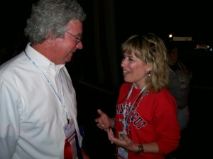 Naugatuck Teachers Association member Angela Szantyr talks with a delegate from New Hampshire during a break in business at the NEA RA on July 4.