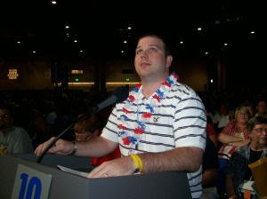 Waterbury Teachers Association member George Flaherty Jr. speaks to delegates explaining his amendment on July 4 to a new business item related to charter schools.