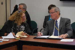 CEA President Sheila Cohen and Executive Director Mark Waxenberg prepare for a meeting of the state's PEAC yesterday.