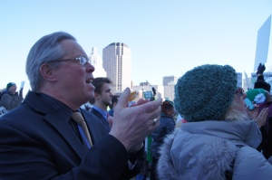 CEA Vice President Jeff Leake applauded speakers at today's gun safety rally.