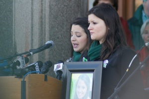 Jillian Soto, sister of Sandy Hook Victoria Soto killed in the school shooting, spoke at a Valentine's Day Rally at the Capitol today in support of