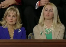 Sandy Hook teacher Kaitlin Roig who hid her students in a bathroom during the shooting (at right) sits next to Dr. Jill Biden during the State of the Union address last night.