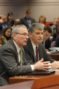 CEA Executive Director Mark Waxenberg, left, and Senate President Don Williams told the Education Committee that the community schools model focuses existing resources to effectively address community needs.