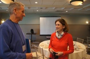 Retired  West Hartford teacher Ken Carpenter talks with Judy Baxter, retired Mansfield teacher and CEA local political coordinator.