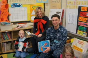 Charles Barnum Elementary School in Groton celebrated Read Across America Day today with members of the military. Paul Nonan from the U.S. Navy read Daisy-Head Mayzie to Laurie Atkins' kindergarten class.