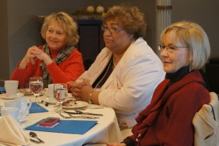 Retired South Windsor teacher Marcia Baretta, at right, with past Hebron Education Association co-presidents Nancy Millerick (at left), and Althea Carr