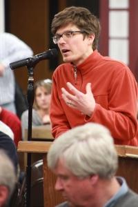 Naugutuck teacher Anthony Scorge told Governor Malloy