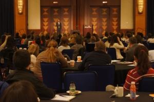 New Teacher Conference attendees listen to keynote speaker