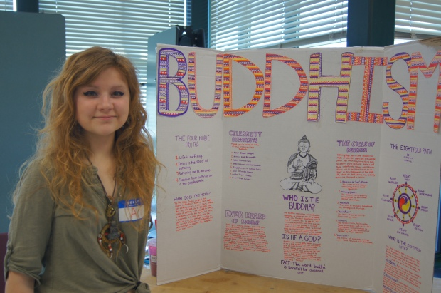 "Aeden Lake said she chose Buddhism as the theme for her booth because her family has background in Buddhism and she has found the philosophy usfule in her life. ""I though I could show anyone lese Buddhisma dn they feel the way i do about it that would be great."""