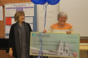 Marie Gull of California Casualty, at left, presents Debbie Seibert with a check