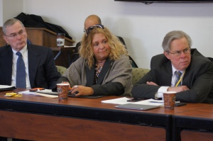 CEA Executive Director Mark Waxenberg, CEA President Sheila Cohen, and CEA Vice President Jeff Leake listen to other members of the state's evaluation council.