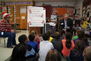 CEA Vice President Jeff Leake read The Sneeches to Becky Lorch's (far left dressed as Waldo) second grade class to celebrate Dr. Seuss' birthday