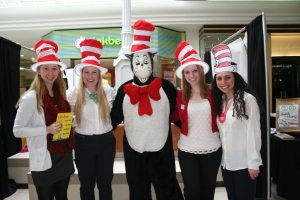 CEA Student Program members pose with the Cat in the Hat during a Read Across America event in Rhode Island last weekend. From left are,