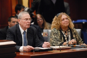 CEA Executive Director Mark Waxenberg and President Sheila Cohen testify before the legislature's Education Committee.