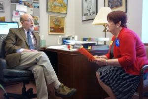 CEA Retired President Gloria Brown meets with Senator Joe Markley.