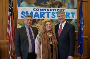 CT 2013 Teacher of the Year Blaise Messinger, CEA President Sheila Cohen, and Senate President Donald Williams