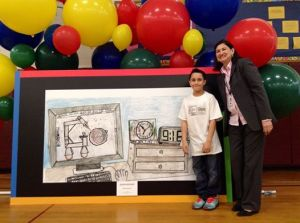 Stamford third-grader Jason Rosado was named the Connecticut state finalist in the Google 4 Doodle contest yesterday.