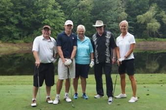 CEF President Jeff Leake with a group of Cheshire teachers on the 13th tee. Pictured (left to right) are John Williams, Tom Wellspeak, Cindy Hitchcock, Leake, and Paula Smalek.