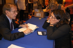 Jonathan Kozol signed copies of his book for teachers, including Jeannette Faber of Fairfield.