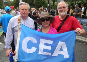 From right, John Horrigan, NEA Director and Wesport librarian, and his wife Raspati, a Wesport paraprofessional, stand with CEA Vice President Jeff Leake