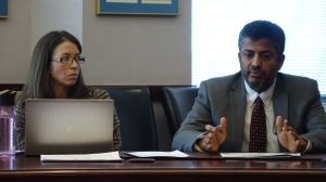 Renée Savoie and Ajit Gopalakrishnan from the State Department of Education presented the state's new proposed school accountability system to Connecticut teachers.