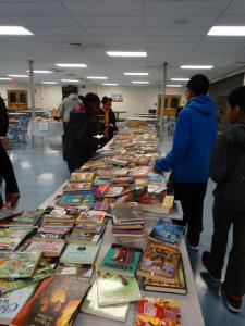 Students and families had a wide variety of books from which to choose.