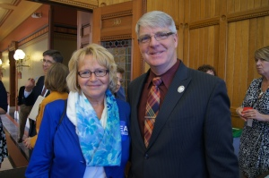 Retired Hebron teacher Nancy Millerick spoke with her state representative Tim Ackert.