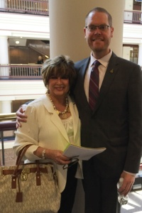CEA-Retired member Karen O'Connell talked with State Representative Jeffrey Curry about the problems with SBAC.