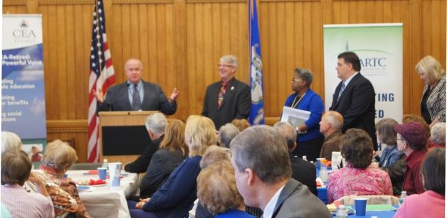 Legislators speak to retired teachers