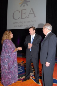 CEA President Sheila Cohen and Vice President Jeff Leake spoke with Senator Chris Murphy (center) during his visit to a CEA Summer Leadership Conference.