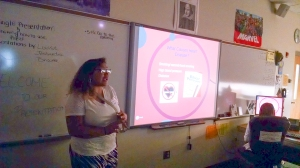 TAG student Jessandra Santiago gave a presentation on the heart and discussed the causes of heart disease.
