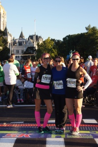 Norwich teachers Sarah Brouillier, Melissa Krodel, and Tricky Tanksley ran in the 5K at the Hartford Marathon.
