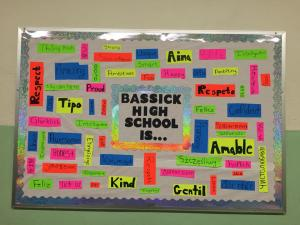 One of the many bulletin boards that CEA-SP members put together at Bassick High School.