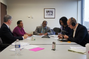 Members of CEA's Ethnic Minority Affairs Commission Juanita Harris, Anthony Thomas, and Mia Dimbo speak with WNPR reporter David DesRoches. Also pictured (at left) is CEA Policy Director Donald Williams.