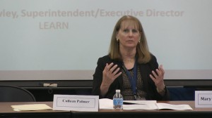Weston Superintendent Colleen Palmer shared her districts teacher evaluatoin plan with PEAC members.