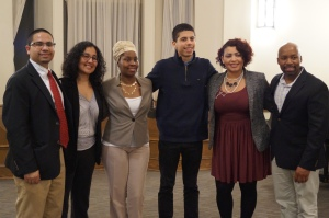 Panel moderator and Director of Urban Educational Initiatives at Trinity Robert Cotto, with panelists Hartford parent Leticia Cotto, Hartford parent Shonta' Browdy, Trinity student Sean Jaquez, New Britain parent Violet Jiménez Sims, and Trinity Director of Admissions Anthony Berry.