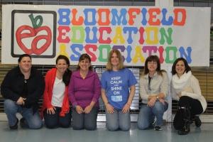 Bloomfield teachers Jennifer Neal, Jennifer Coleman, BEA President Susan Sumberg, Lisa Ginsberg Cleveland, Lynne Dumas Krul,  Claudette Kenyon and Jennifer Neal