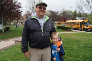 Kindergartener Owen Dube and his grandfather.
