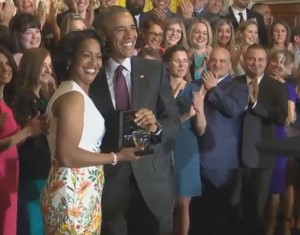 Waterbury teacher and National Teacher of the Year Jahana Hayes was honored at the White House by President Obama today.