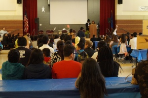 Parents and students gathered in the auditorium following the student presentations Emcees were Joshua Lasado and Brianne Galloza.