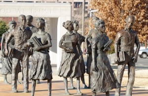 The Little Rock Nine Memorial pays homage to the students who integrated Little Rock Central High School in 1957.