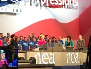 NEA Officers and Directors including Bridgeport teacher Gary Peluchette joined Clinton on stage during her speech.