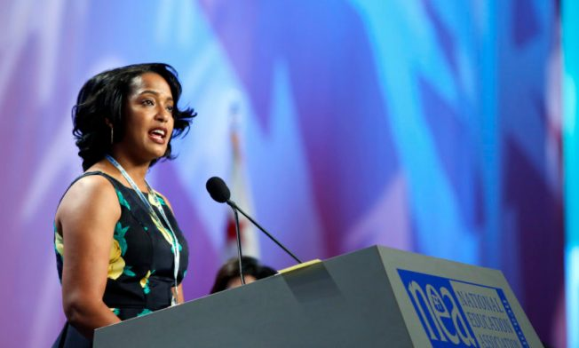 Waterbury high school teacher and National Teacher of the Year Jahana Hayes speaks at the NEA Representative Assembly July 7. Photo by Scott Iskowitz/NEA.