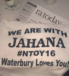 Waterbury Teachers Association members were so thrilled to hear Hayes address the NEA RA that they made special shirts for the occassion.