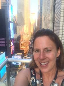 Cheshire High School English teacher Dawn DeMeo in New York City for the Broadway Teachers Workshop.
