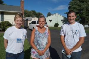 Massachusetts Field Representative Kim Hoffman (at left) and Danbury teacher Tim Nott spoke with North Haven teacher