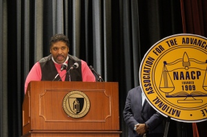Rev. Dr. William Barber, president of the North Carolina NAACP, electrified the crowd during a visit to New Britain earlier this fall.