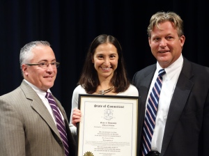 State Rep. Vincent Candelora and Sen. Ted Kennedy, Jr. presented Danner with an official citation from the Connecticut General Assembly.